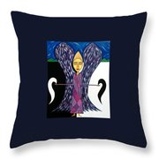 Angel Of Ying Yang Throw Pillow