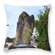 Angel On Graveyard Throw Pillow