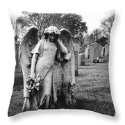 Angel On The Ground At Calvary Cemetery In Nyc New York Throw Pillow