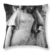 Angel On The Ground At Cavalry Cemetery, Nyc, Ny Throw Pillow