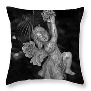 Angel Statue Hanging On Throw Pillow