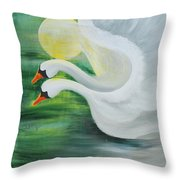 Angel Swans Throw Pillow