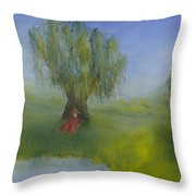 Angel Under Weeping Willow Throw Pillow