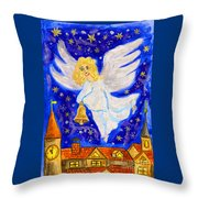 Angel With Christmas Bell Throw Pillow