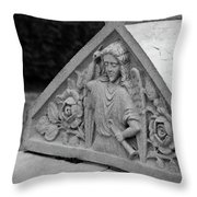 Angel With Horn Carving Throw Pillow