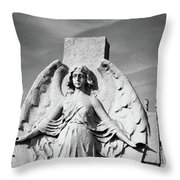 Angel With Outspread Wings And Other Angels In The Background Throw Pillow