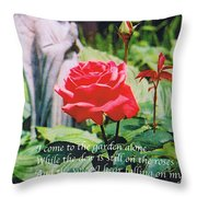 Angel With Roses 2 Throw Pillow