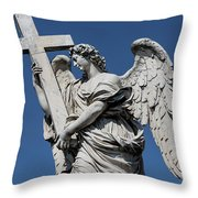 Angel With The Cross Throw Pillow