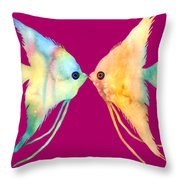 Angelfish Kissing Throw Pillow by Hailey E Herrera