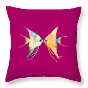 Angelfish Kissing Throw Pillow