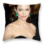 Angelina Jolie Throw Pillow by Nina Prommer