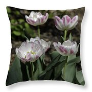 Angelique Peony Tulips Squared Throw Pillow