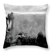 Angels And Brothers Black And White Throw Pillow