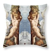 Angels And Fruits Throw Pillow