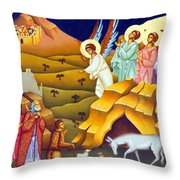 Angels And Shepherds Throw Pillow