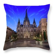 Angels Flying In Front Of The Cathedral Of The Holy Cross And Sa Throw Pillow