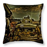 Angels On The Battlefield - Oil Throw Pillow