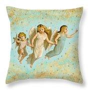Angels Three Children Vintage Throw Pillow