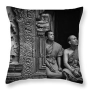 Angkok Wat Buddhist Monks Gather Throw Pillow
