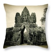 Angkor Thom Southern Gate Throw Pillow