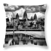 Angkor Wat Black Oil Paint  Throw Pillow