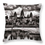 Angkor Wat Sepia Paint  Throw Pillow