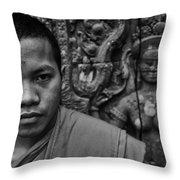 Angkor Watbuddhist Monk Portrait Throw Pillow