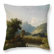 Angler By A Stream Throw Pillow