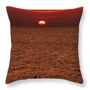 Angler In Summer Sunset Throw Pillow
