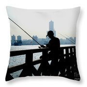 Angler In The Port City Of Kaohsiung Throw Pillow