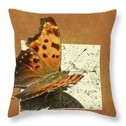Anglewing Butterfly Throw Pillow
