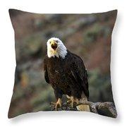 Angry Bald Eagle Throw Pillow