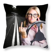 Angry Business Woman Expressing Road Rage Throw Pillow