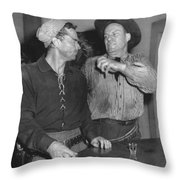 Angry Cowboy In A Bar Throw Pillow