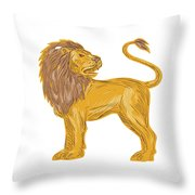 Angry Lion Big Cat Roaring Drawing Throw Pillow