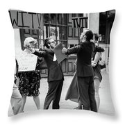 Angry Mob Demonstrating Throw Pillow