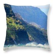 Angry Sea, Na Pali Coast Throw Pillow