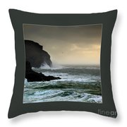 Ochre Sky's And Angry Seas 1 Throw Pillow