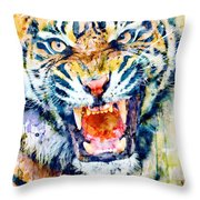 Angry Tiger Watercolor Close-up Throw Pillow
