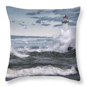 Angry Waters Of Lake Ontario Throw Pillow