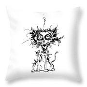 Angst Cat Throw Pillow