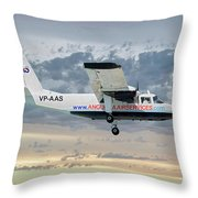 Anguilla Air Services Britten-norman Bn-2a-26 Islander 114 Throw Pillow