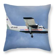 Anguilla Air Services Britten-norman Bn-2a-26 Islander 117 Throw Pillow