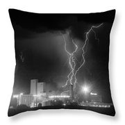 Anheuser-busch On Strikes Black And White Throw Pillow
