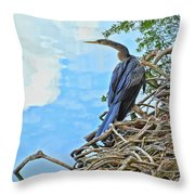 Anhinga In The Clouds Throw Pillow