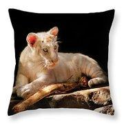 Animal - Cat - A Baby Snow Tiger Throw Pillow