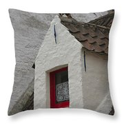 Animal Statue On The Dormer Roof Of A House In Bruges Belgium Throw Pillow
