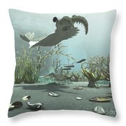 Animals And Floral Life Throw Pillow