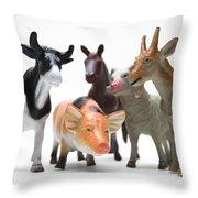 Animals Figurines Throw Pillow