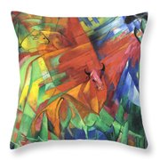 Animals In Landscape Red And Yellow Bulls Resting Throw Pillow
